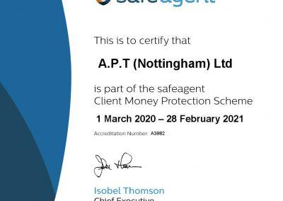 Safe Agent Certificate 2020-2021