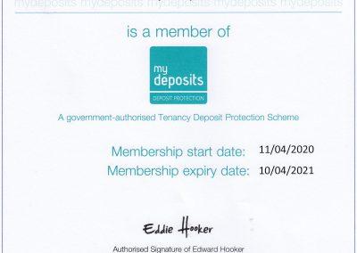 MyDeposits accreditation 2020