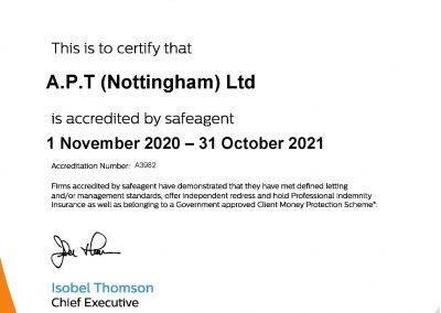 Safe Agent Client Money Protection Scheme Certificate 2021-22 for Able Property Trust