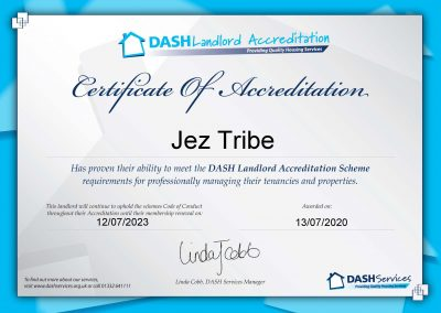 DASH Landlord Accreditation Certificate for Able Property Trust Nottingham